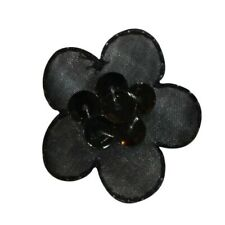 926182 each Prym Iron On Embroidered Motif Applique Black Sequin Flower