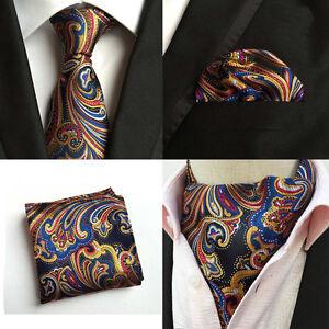 Men-Colorful-Paisley-Floral-Silk-Tie-Necktie-Cravat-Ascot-Handkerchief-Set-Lot