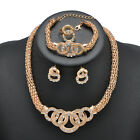 Fashion Women Gold Crystal Necklace Bracelet Earring Ring Sets Bridal Jewelry