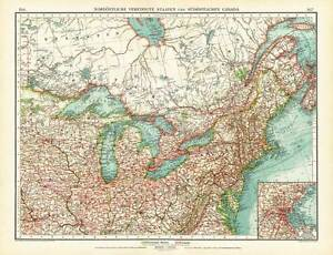 image is loading antique map north east america usa united states