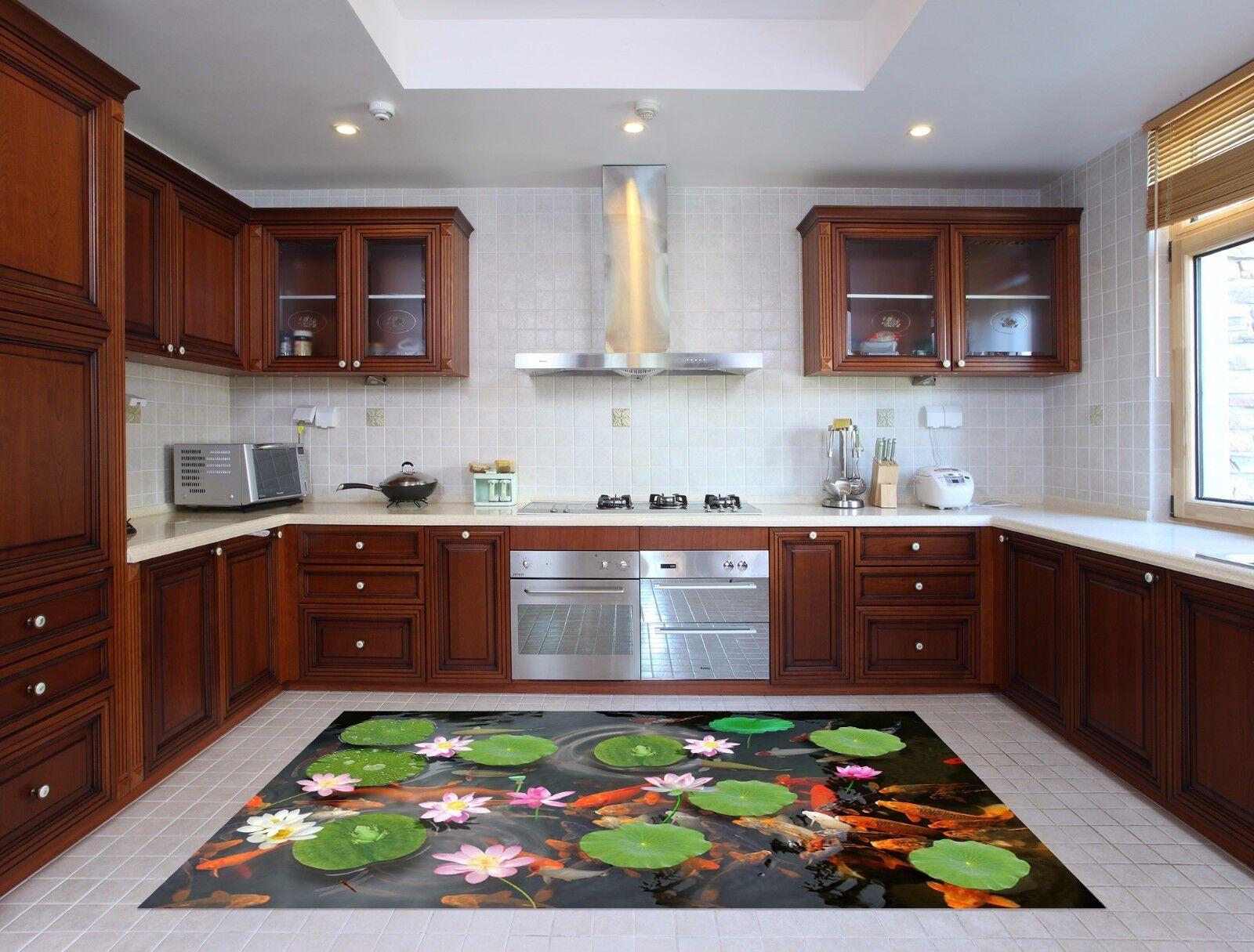 3D Pond Lotus 738 Kitchen Mat Floor Murals Wall Print Wall AJ WALLPAPER UK Kyra