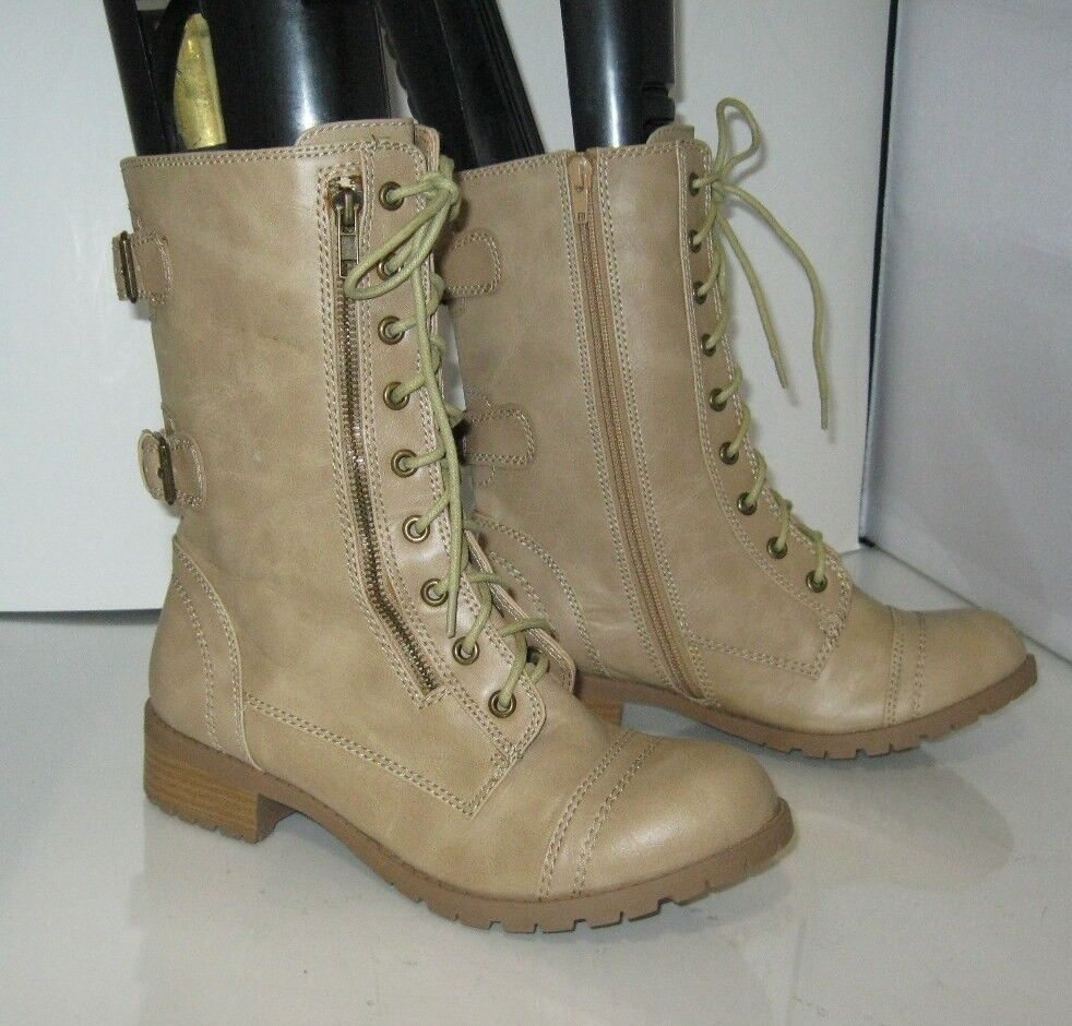 New Brown 1.5 Low Block Heel Lace Up Combat Ankle Sexy Boots Size 8.5