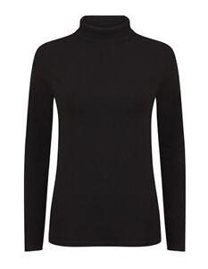 Damen Rollkragen Shirt Pullover schwarz Gr.XS-XXL Rolli Langarm Roll Neck SF125