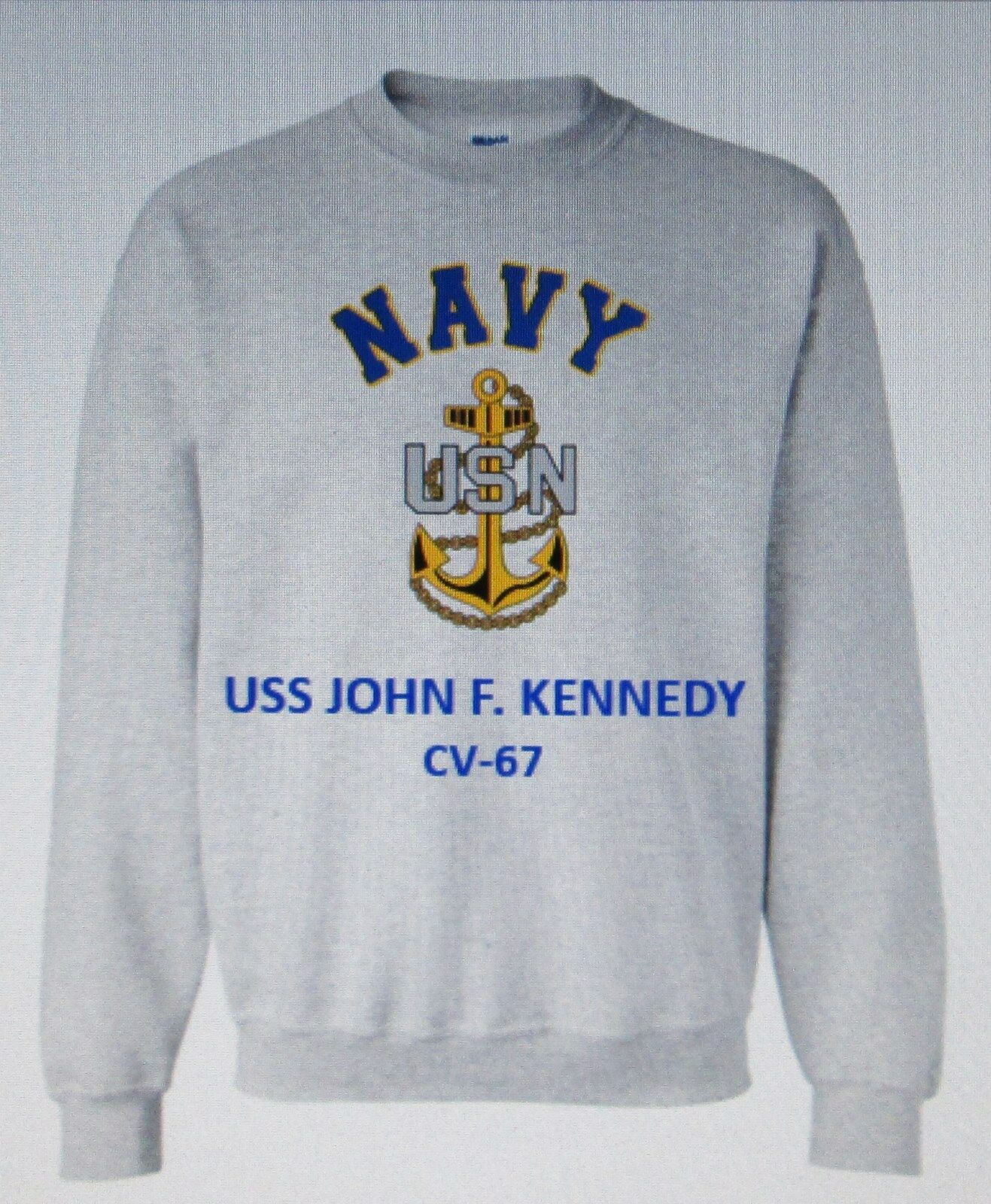 USS JOHN F. KENNEDY  CV-67 AIRCRAFT CARRIER NAVY ANCHOR EMBLEM SWEATSHIRT