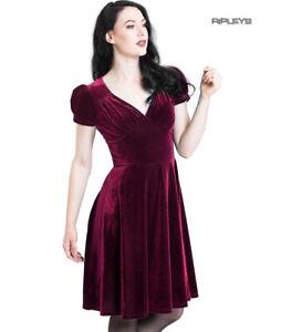 Hell-Bunny-40s-50s-Elegant-Pin-Up-Dress-JOANNE-Crushed-Velvet-Burgundy-All-Sizes