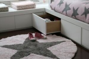 Grey and Pink Washable Reversible Star Rug