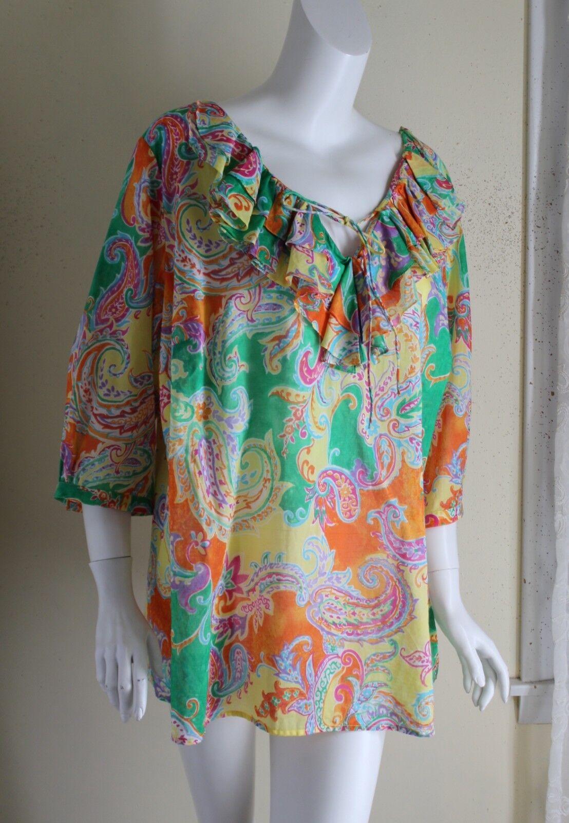 Ralph Lauren -Sz 2X Fine Lightweight Cotton Art-to-Wear Ruffle Graphic Tunic Top