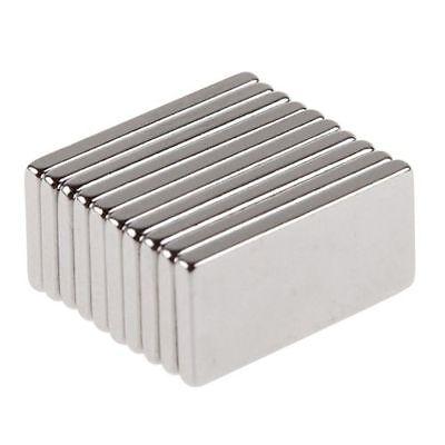 "10Pcs N35"" Super Strong Block Fridge Magnets Rare Earth Neodymium 20x10x2mm"