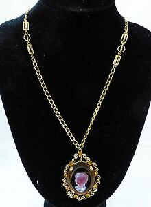 Vintage-tammey-jewels-clear-glass-cameo-filigree-chain-necklace-signed