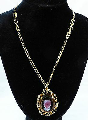 Vintage tammey jewels clear glass cameo filigree chain necklace signed