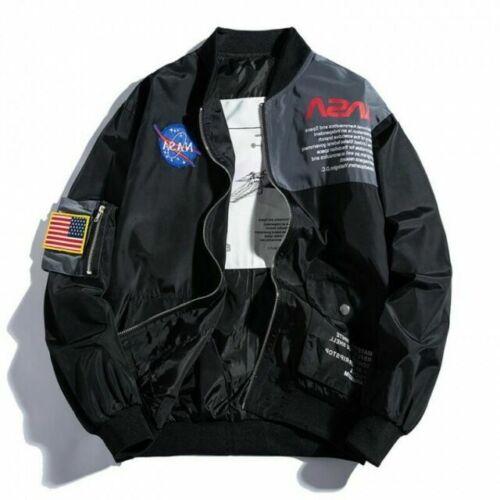winter Men MA-1 Flight Jacket NASA Style Bomber Coat Pilot Army Jacket outerwear