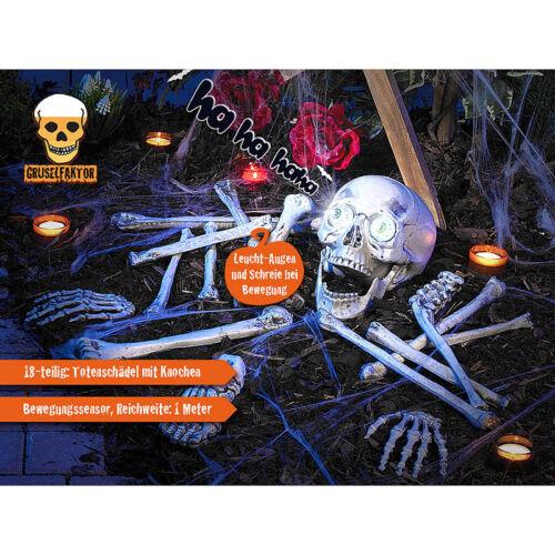 18-teiliges Grusel-Skelett Horror-Skelett Totenschädel /& Knochen mit Sound