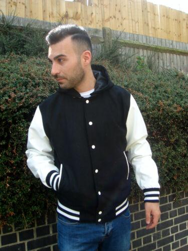 Mens Hooded Varsity Letterman Baseball Jacket Faux Leather Private Member