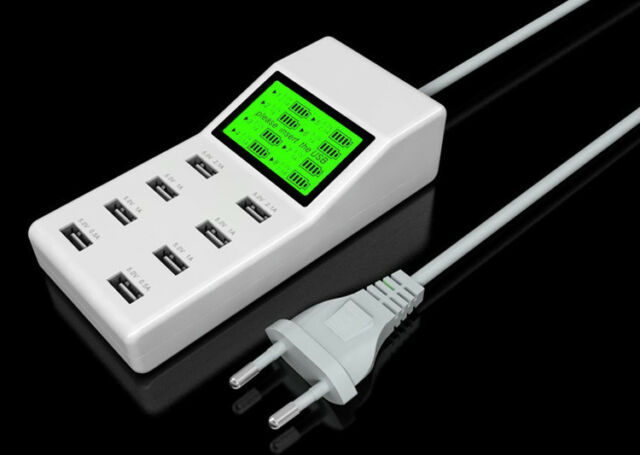 LED LCD Rapid Multi 8 Port USB Wall Charger Power Adapter Socket Smart Charger