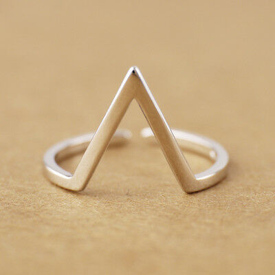 925 Sterling Silver Triangle Tip Adjustable Knuckle Midi Mid Pinkie Ring A3632