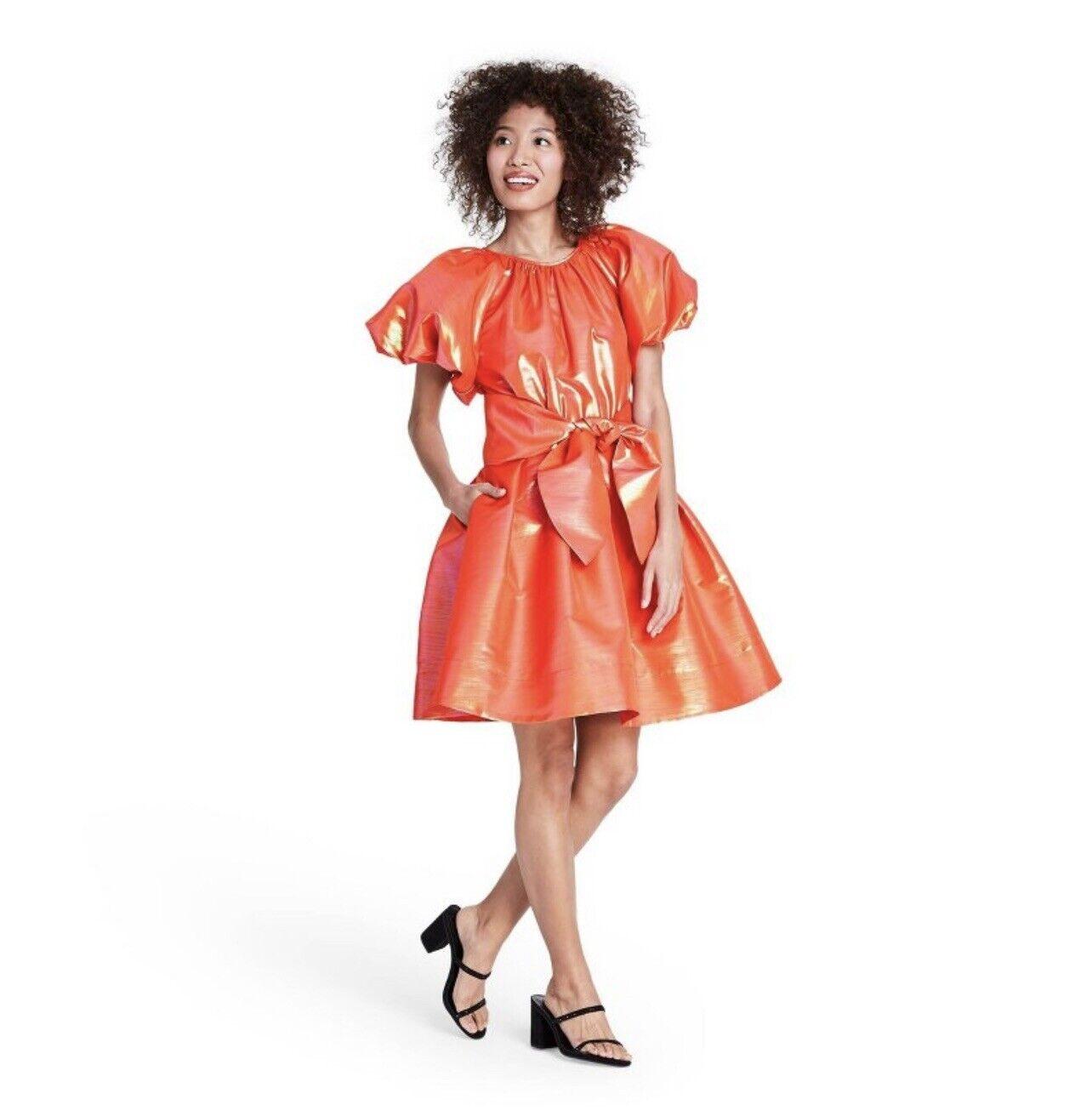 Christopher John Rogers Target Orange Puff Sleeve… - image 1