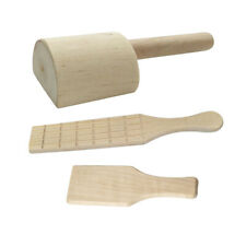oshhni 2 Pieces Flat//Groove Wooden Board Ceramic Tool Mud Sculpture Clay Paddle