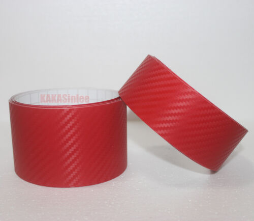 DIY Adhesive Vehicle Red 3D Texture Carbon Fiber Vinyl Tape Wrap Sticker CB