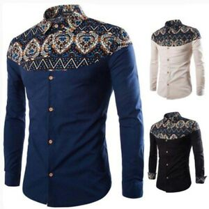 Tops-long-sleeve-casual-t-shirt-formal-stylish-floral-dress-shirt-slim-fit-men-039-s