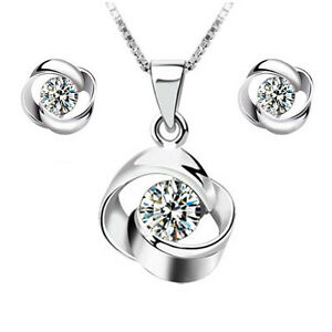 925-Sterling-Silver-Crystal-Rotating-Pendant-Necklace-Earrings-Set-Women-Jewelry