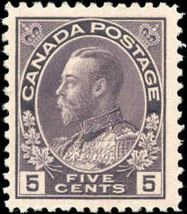 Mint-H-Canada-5c-1922-F-Scott-112-King-George-V-Admiral-Issue-Stamp