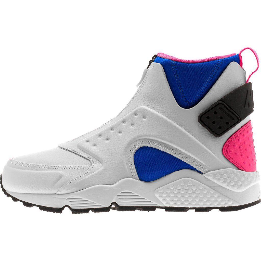 Size 8/8.5/9/10/12 Nike Women Air Huarache Run Mid 807313 100 WhiteBlueBlack