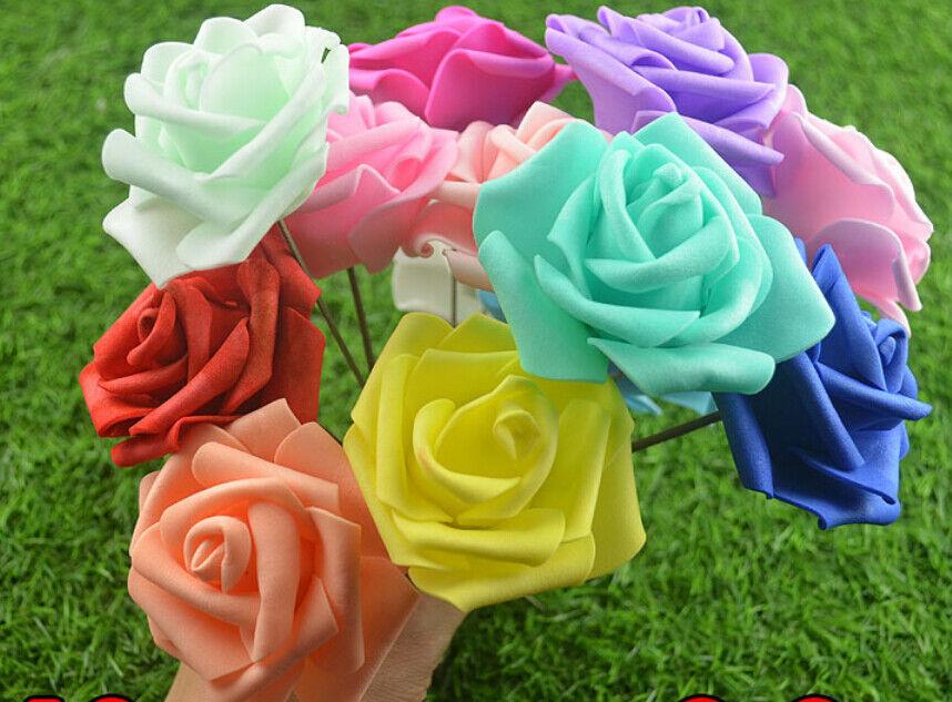 Hot  fleurs 50-100pcs Couleurfast Roses pour Mariage Décorations bridal bouquet