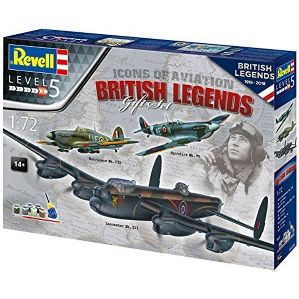 British Legends Gift Set 1 72 Revell Model Set - 100 Years Raf 172 Aircraft