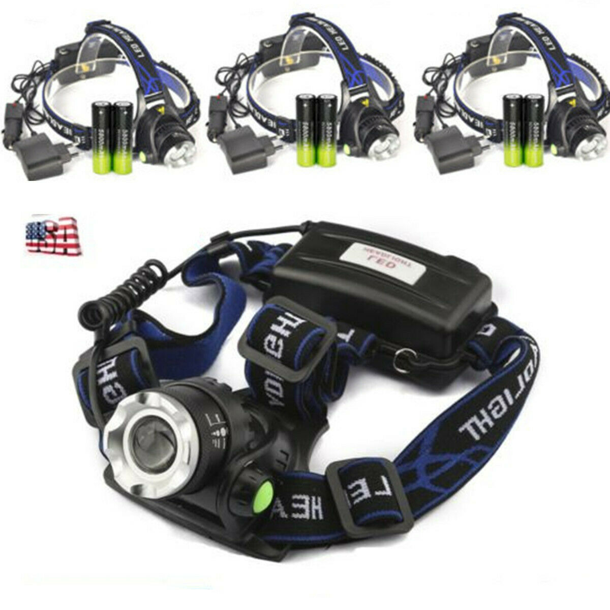 3Set Zoomable 90000LM Headlamp T6 LED Headlight Flashlight+Charger+18650 Battery