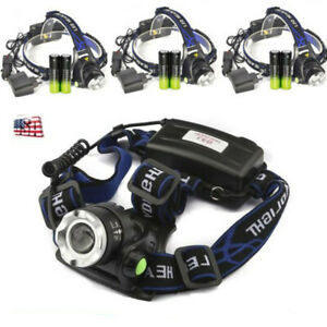 3Set-Zoomable-90000LM-Headlamp-T6-LED-Headlight-Flashlight-Charger-18650-Battery