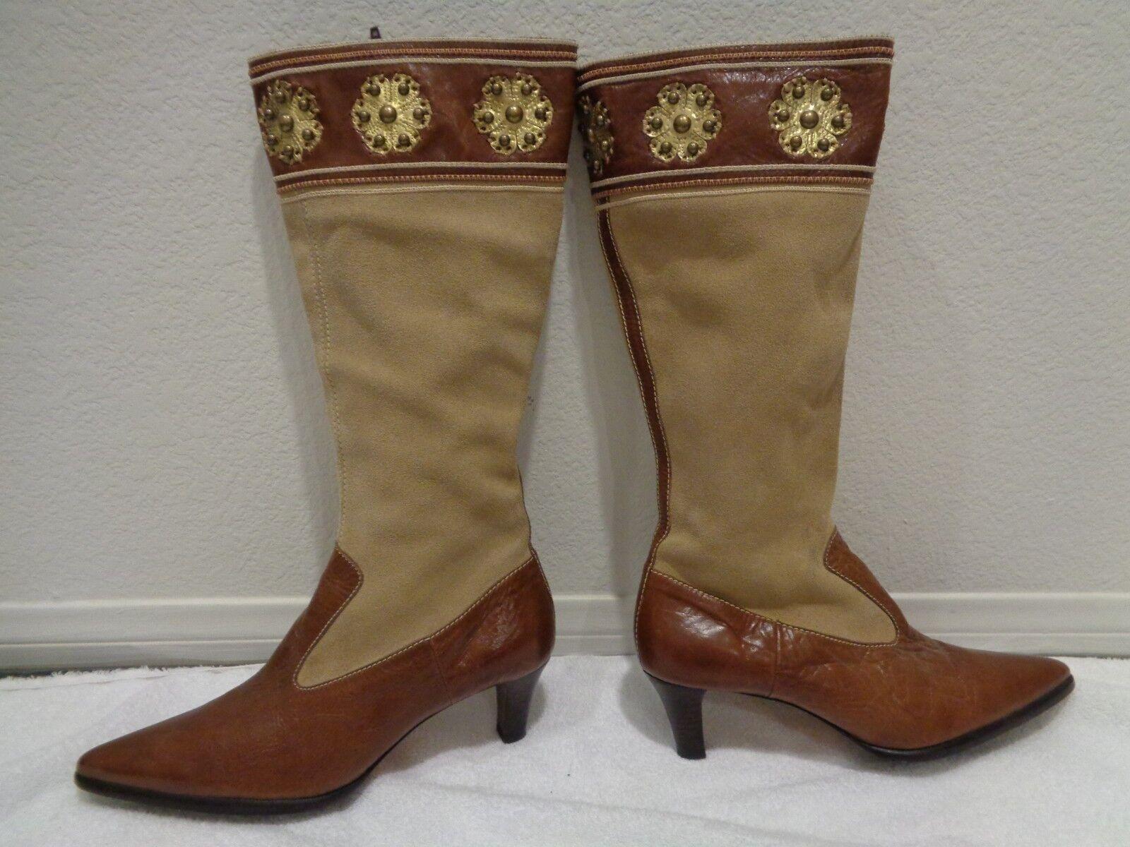 Mikala  MARIANNE  en cuir marron clair en daim western Équitation Équitation Pointure 9