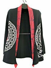Desigual cardigan sweater L open black red you vs me