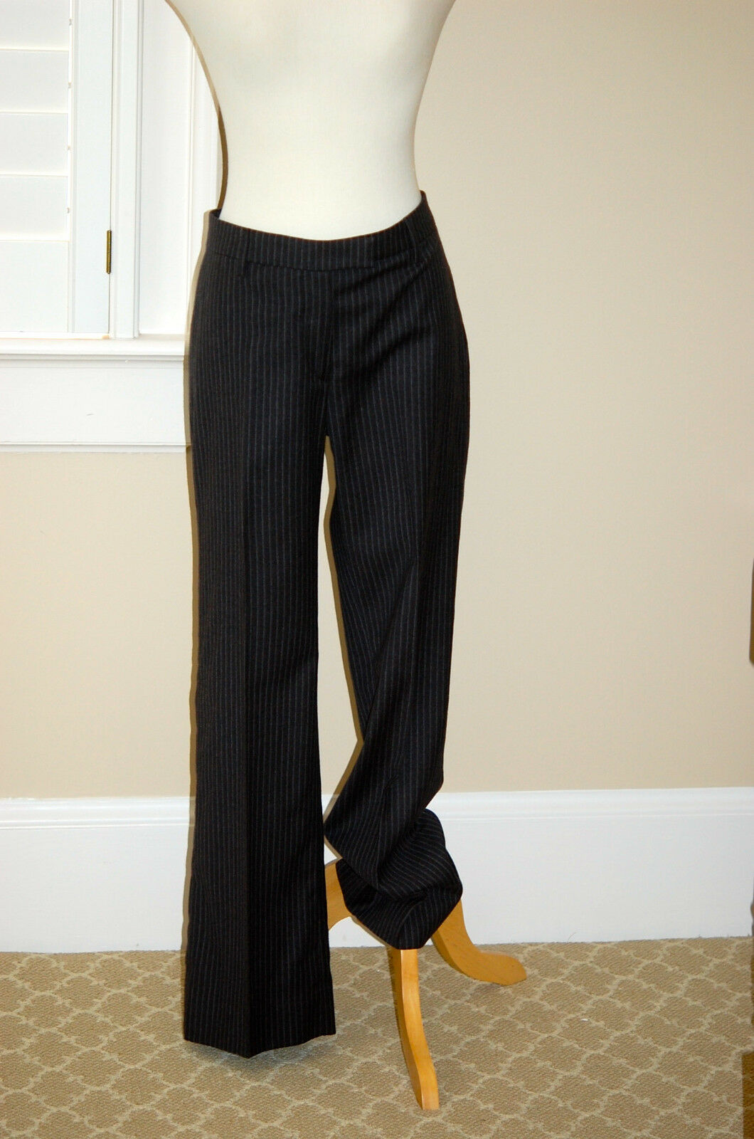 Brunello Cucinelli Grey Wool Pant w Lt Grey Stripe Sz10 usa