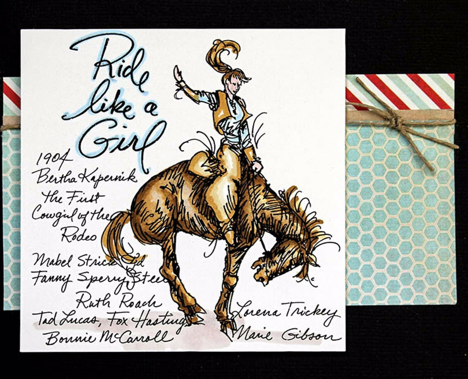 Cowgirl Riding Rubber Stamp With Your Custom Address