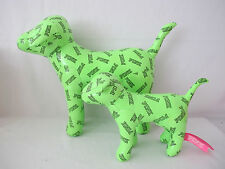 NEW Victoria's Secret PINK Green Logo Giant/Mini Dog Plush Toy 2-pc Set FRE SHIP