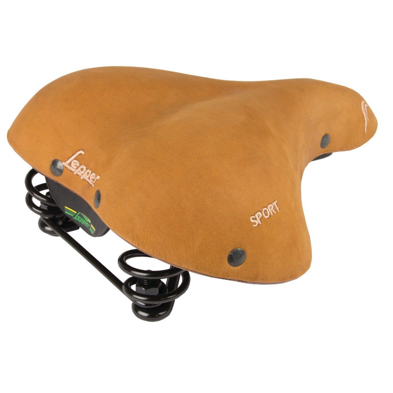 Lepper Fahrrad Sattel Lounger Sport Nubuk Leder Komfort Retro brown Natur Unisex