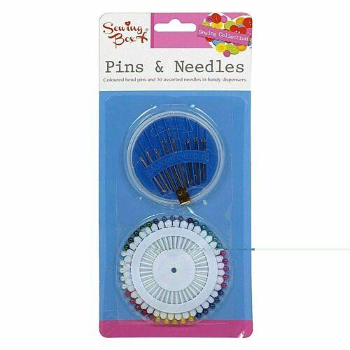 Sewing Box Kit Couleur Head Pins 30 main coudre Aiguilles dans Handy Distributeurs NOUVEAU