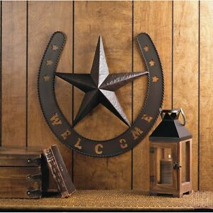 Welcome Wall Decor western texas star wall decor horse shoe country rustic cowboy