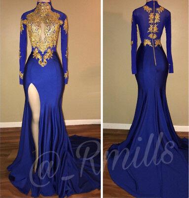Gold Appliques Prom Dresses Long Sleeves Mermaid Split Black Girls Evening Gowns Ebay
