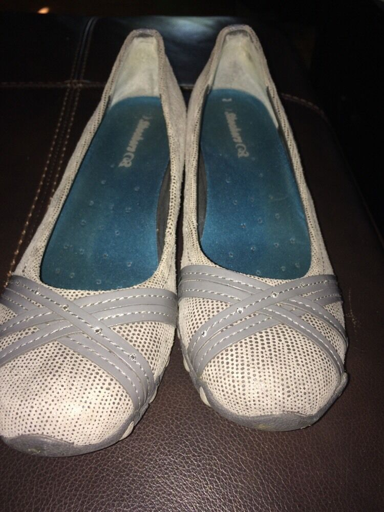 EUC SKECHERS GRAY BALLET LEATHER FLATS WOMENS SHOES Price reduction Cheap and beautiful fashion