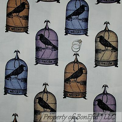 BonEful Fabric FQ Cotton Quilt Cream Brown Black Gray Sepia Crow Bird Cage House
