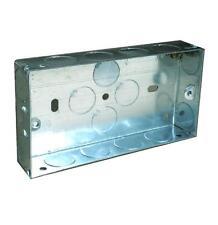DOUBLE METAL PATRESS BACK BOX 25MM / 2 GANG ELECTRICAL PATTRESS SWITCH SOCKET