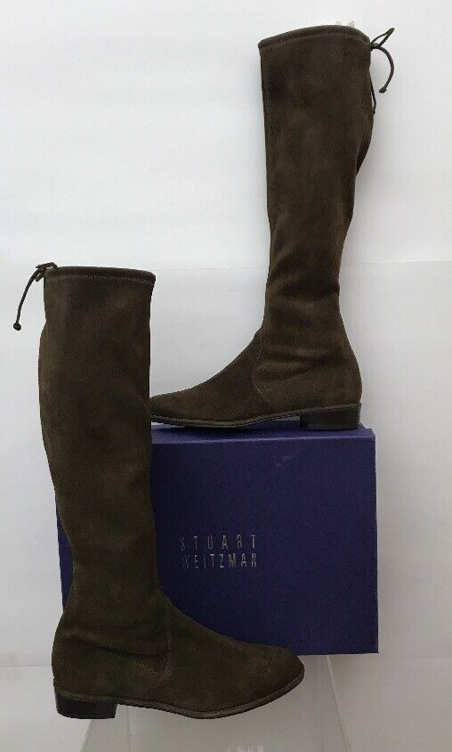 STUART WEITZMAN Kneezie Olive Stretch Suede Leather Below the Knee Boots 10 NEW