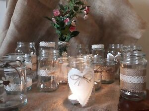Wedding-Table-Centerpieces-12-Decorated-candle-Flower-Jars-Rustic-Vintage-Style