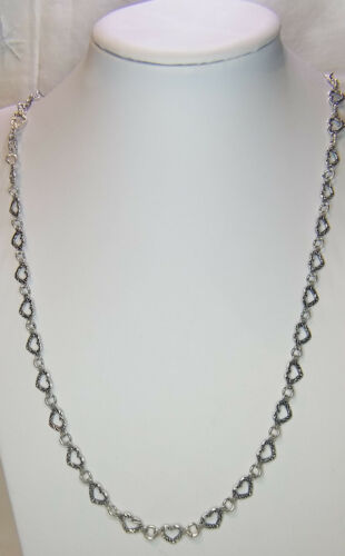 """38"""" SILVER TONE HEART SHAPED LINK CHAIN"""