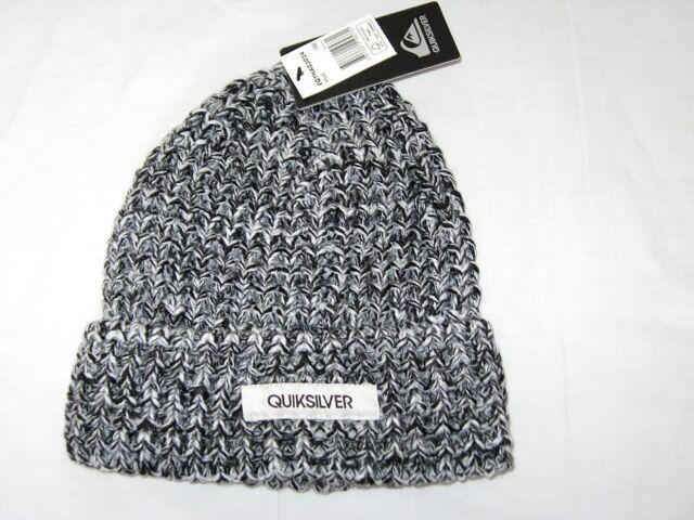 Quiksilver Mens EQYHA03024 Cable Knit Beanie Hat Black White One ... 6854c7c4e88