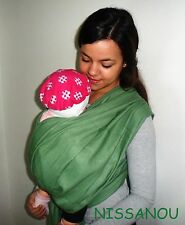 NISSANOU porte bébé ECHARPE DE PORTAGE neuve * sauge * idée cadeau naissance