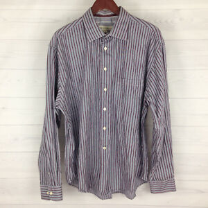 Pronto-Uomo-Men-039-s-Size-XXL-Purple-White-Striped-100-Cotton-Long-Sleeve-Shirt