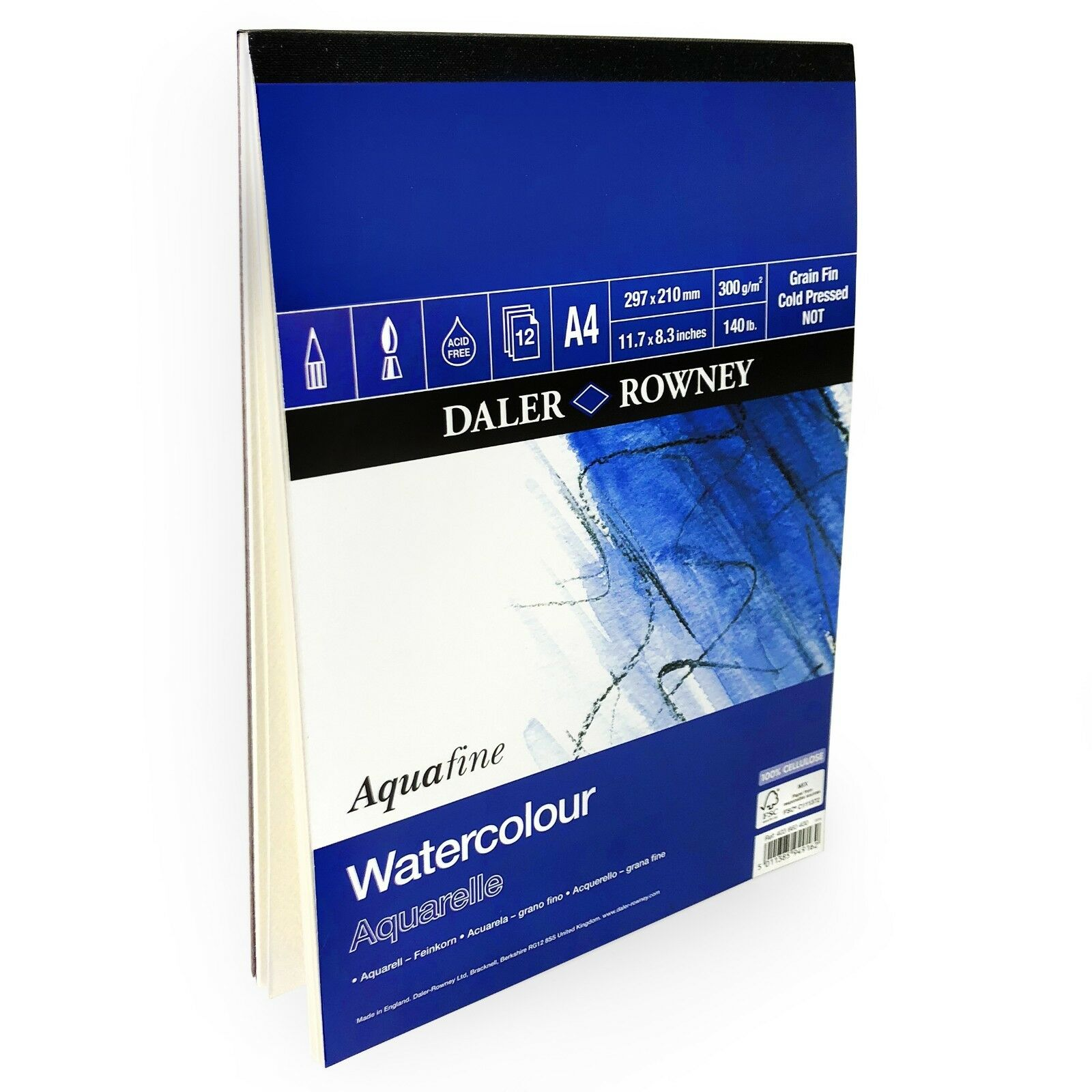 12 Sheets Daler Rowney Aquafine Watercolour A4 Sketchbook 300gsm