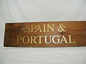 VINTAGE-WOODEN-WINE-COUNTRY-REGION-SPAIN-PORTUGAL-SIGN-DISPLAY-BAR-RESTAURANT